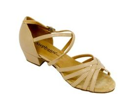 Style Meets Comfort in this Girls' dance shoe! 16003-51XG, Tan Leather / Two Way Strap Only $65!