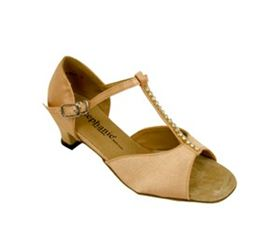 Cute kids' dance shoe for Latin & Salsa Dance! 12002-55G, Tan Satin only $69!